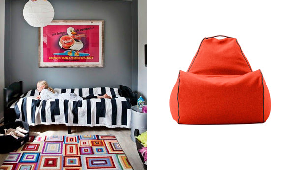 childs room and bean bag chair