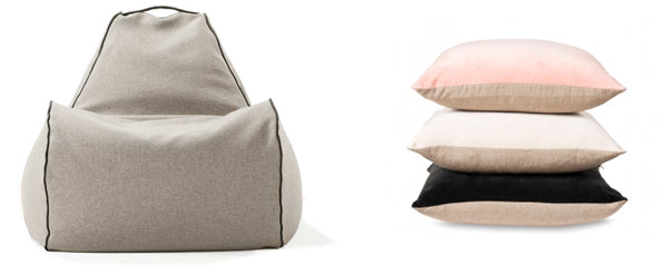 taupe beanbag chair and cushions