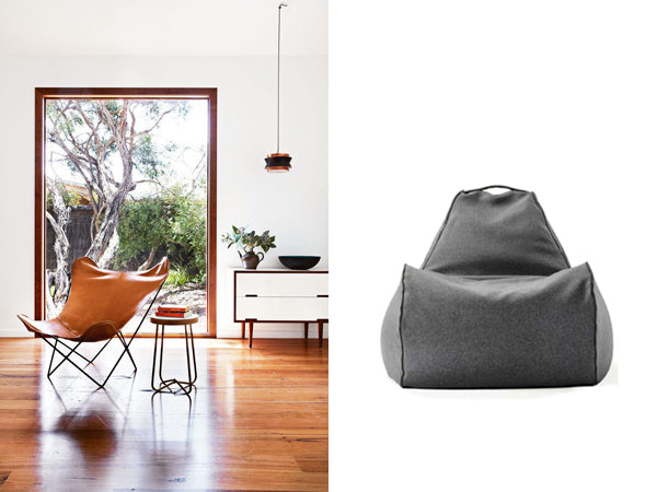 designer chair and beanbag chair