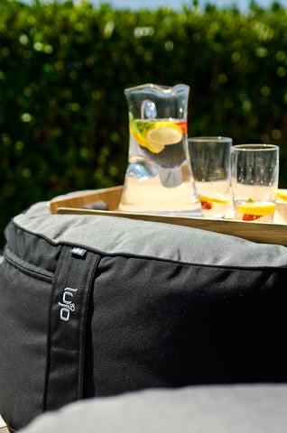 outdoor ottoman with drinks
