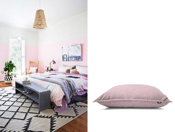 pink bedroom and giant floor cushion