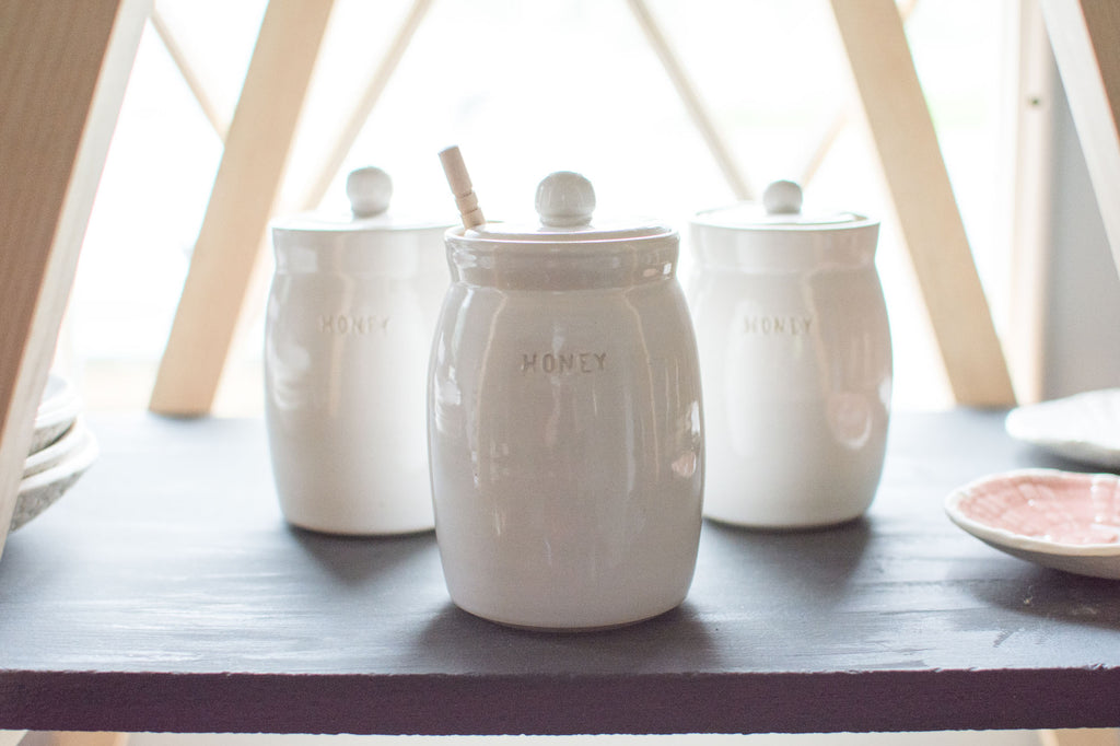 white honey pots