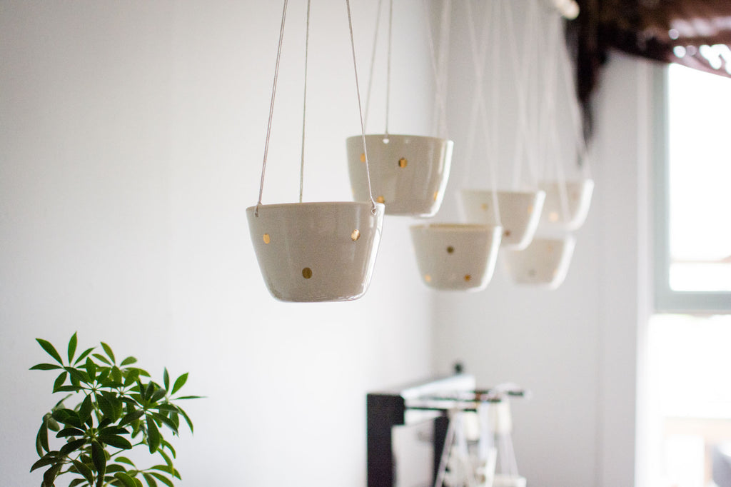 white gold hanging planters