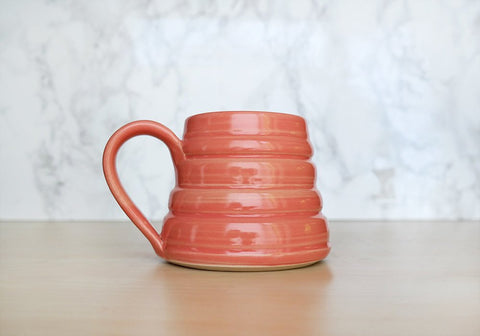 Bee Skep Pottery Mug - Tulip Pink - Stuck in the Mud Pottery