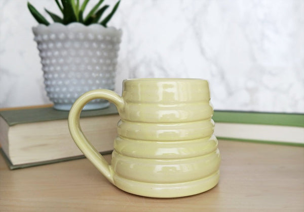 Bee Skep Pottery Mug - Dandelion Yellow - Stuck in the Mud Pottery