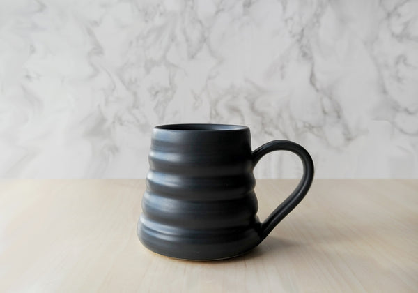 Bee Skep Pottery Mug - Raven Black - Stuck in the Mud Pottery