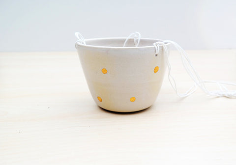 Hanging Planter - White + Gold Dot