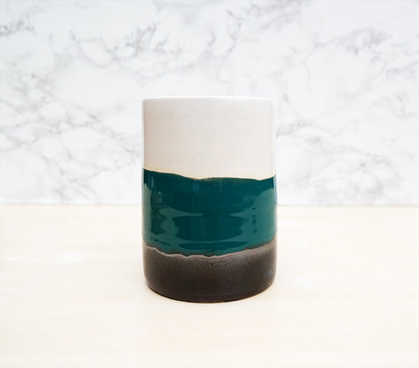 Large Utensil Holder - White + Turquoise + Black - Stuck in the Mud Pottery