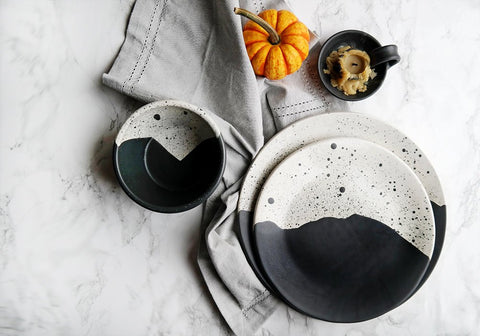 Handmade High Peaks Dinnerware Set - Black + White - Stuck in the Mud Pottery
