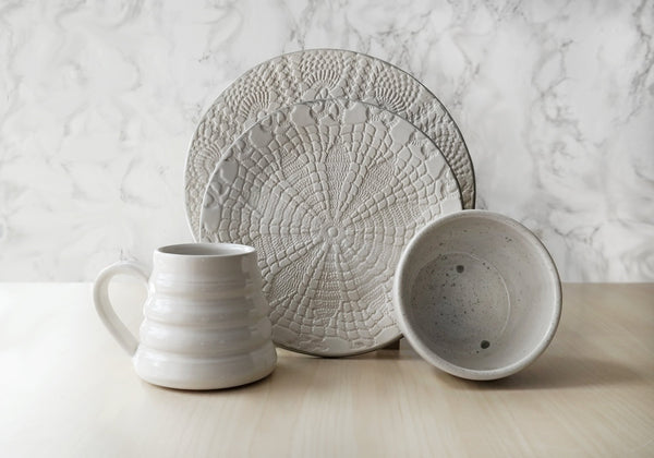Handmade Lace Dinnerware Set - White + Gray - Stuck in the Mud Pottery