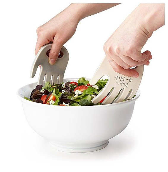 Helping Hands Salad Servers - White