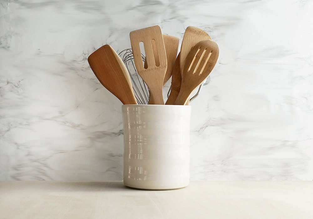 Large Ceramic Utensil Holder - White - Stuck in the Mud Pottery