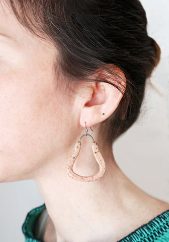 Speckled Pink Ceramic Dangle Earrings - Stuck in the Mud Pottery