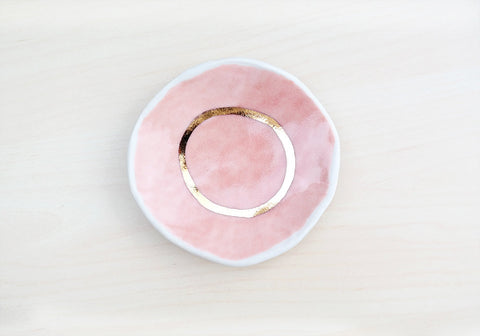 Jewelry Dish - Pink + Gold - Stuck in the Mud Pottery