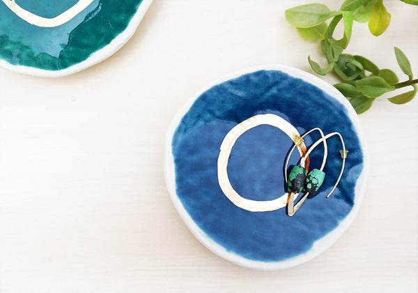 Jewelry Dish - Blue + Gold - Stuck in the Mud Pottery