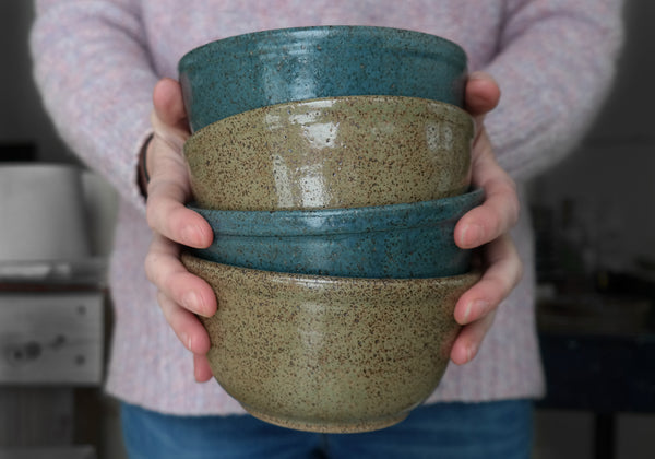 Moss Green Speckled Penny Lane Bowl