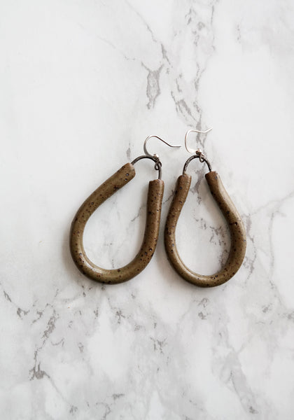Speckled Olive Green Ceramic Dangle Earrings - Stuck in the Mud Pottery