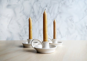 Ceramic Candle Holder - White - Stuck in the Mud Pottery
