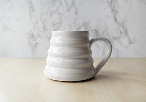 Bee Skep Pottery Mug - Dove White