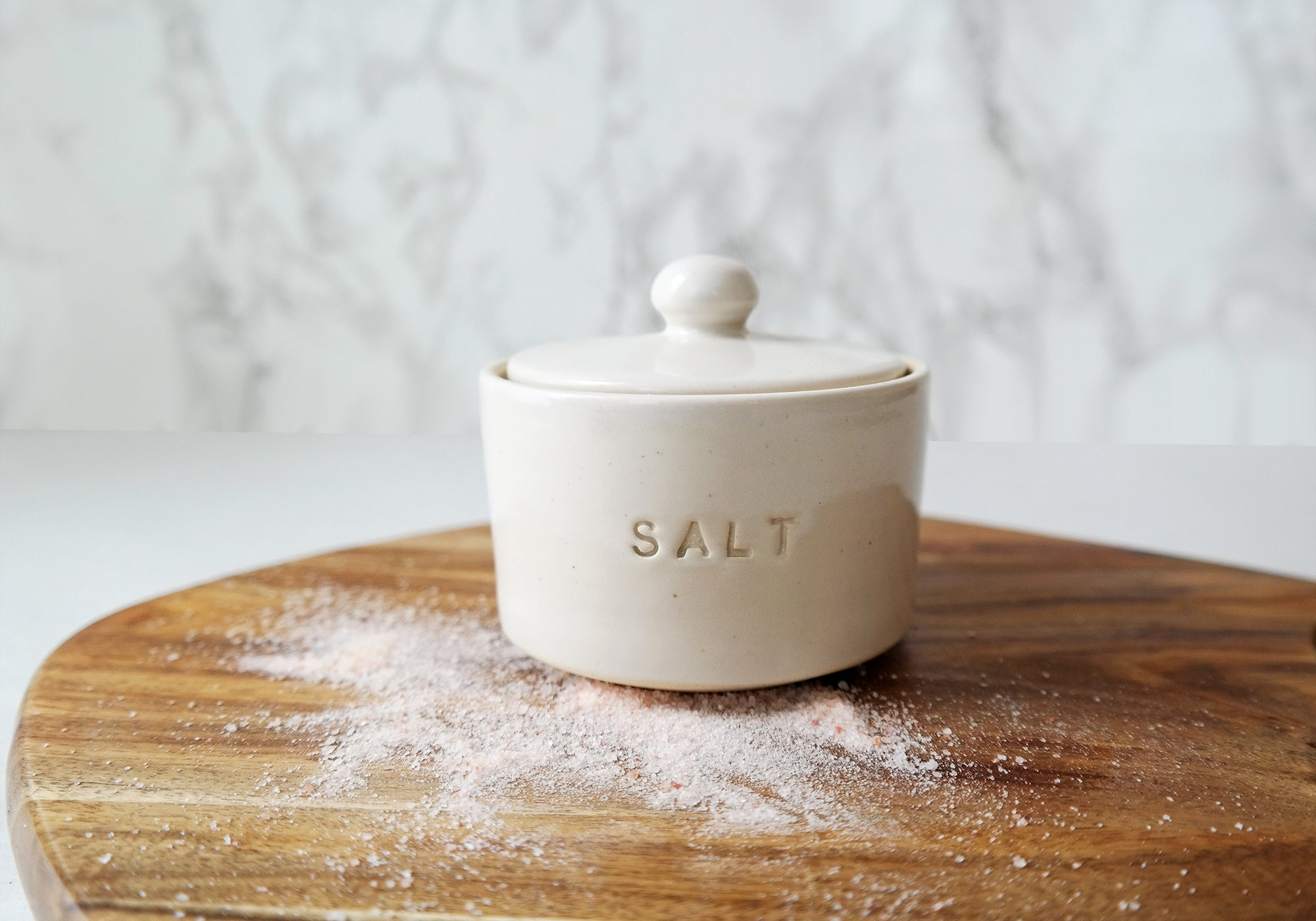 White Ceramic Salt Cellar with Lid