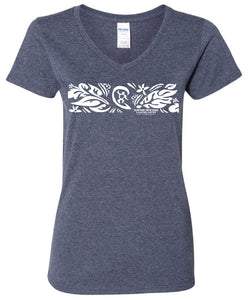 "SHACC Women's Short Sleeve ""Floral Band"" Logo V-Neck Tee"
