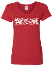 "Load image into Gallery viewer, SHACC Women's Short Sleeve ""Floral Band"" Logo V-Neck Tee"