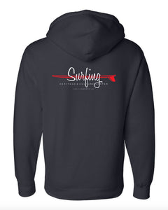 "SHACC Women's Lighter Weight Hooded ""Surfing"" Logo zippered Sweatshirt in Black"
