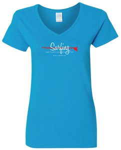 "SHACC Women's Short Sleeve ""Surfing"" Logo V-Neck Tee"