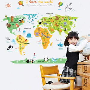 cartoon map kids world map wall sticker cartoon world map wall sticker