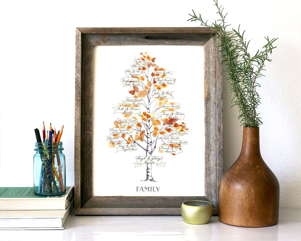 NEW Watercolor Family Tree, Customized for 2-4 generations, Rustic Birch family Tree Gift