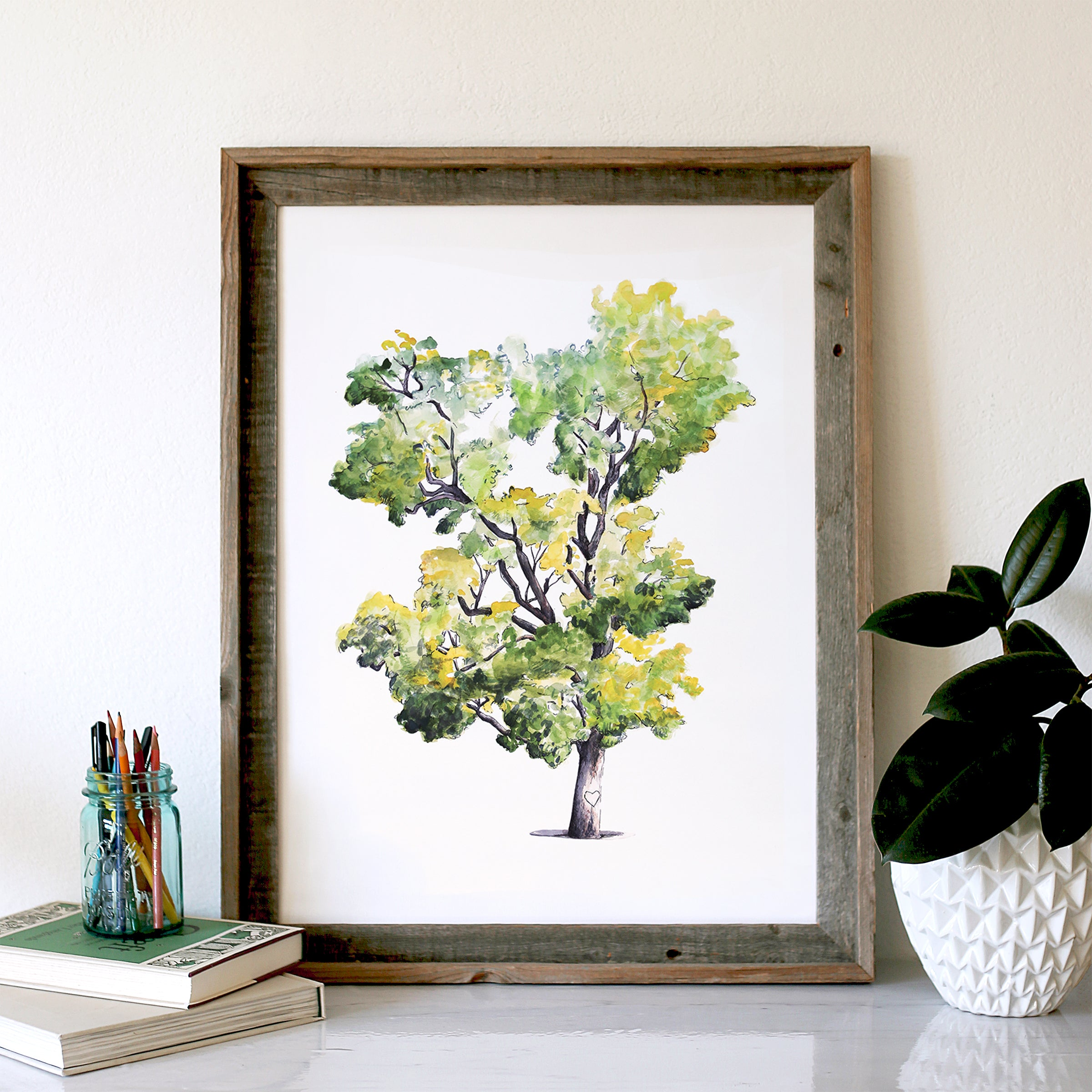 Watercolor Signature California Oak Tree, Wedding Guest Book Alternative