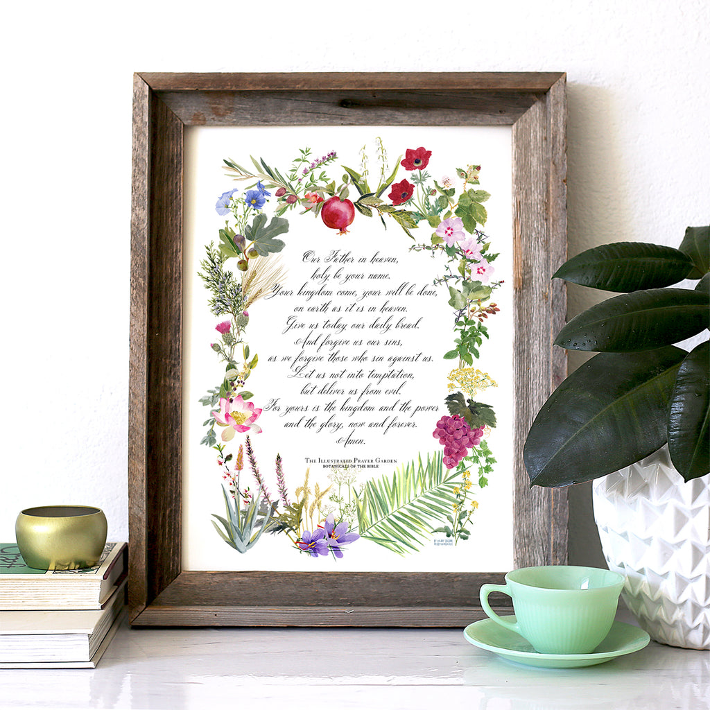 All new! Illustrated Prayer Garden, Lord's Prayer Print, 2021 Wall Calendar, Watercolor Botanicals of the Bible