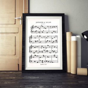 Music Sheet, fingerprint notes, wedding guest book alternative, kit with 1 black ink pad & pen, customized artwork