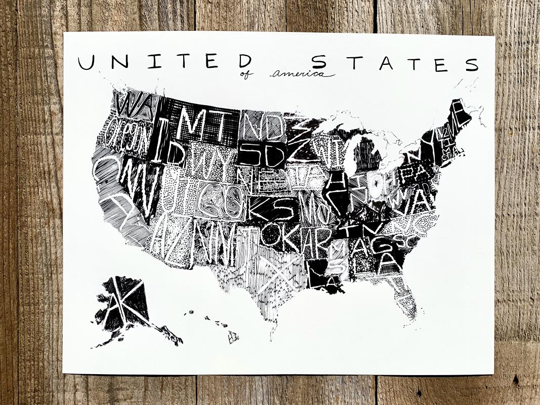 Map of The United States, Illustrated US Map