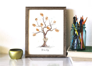 Watercolor Fingerprint Tree kit, Family Tree with 1 ink pad & a pen