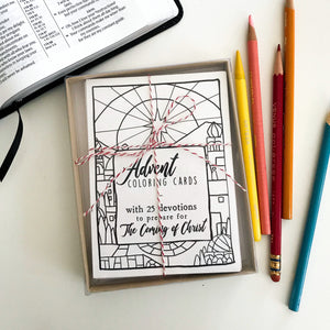 Advent Coloring Cards with devotionals, holiday activity advent calendar