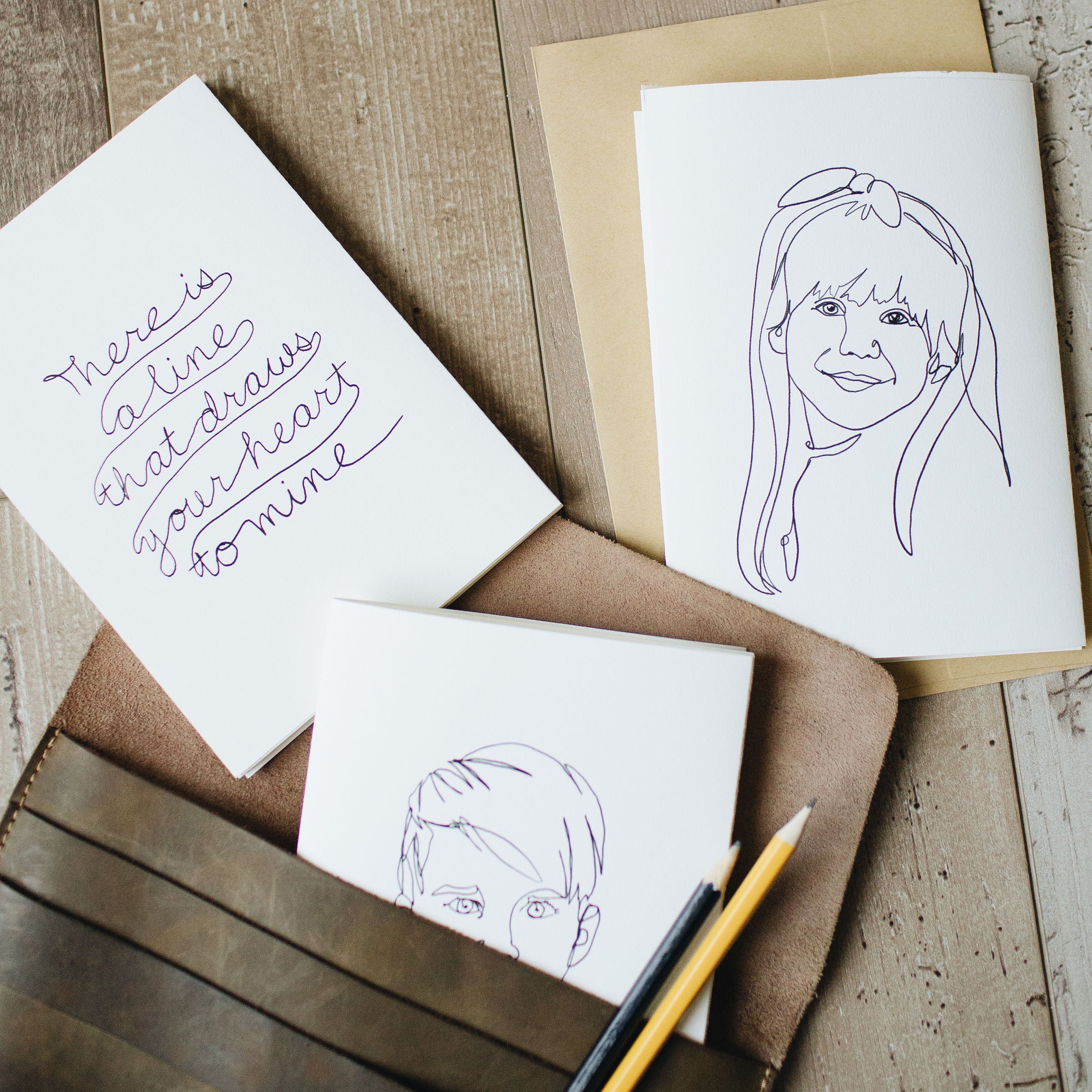 Modern Line Portrait, Custom Drawn Accordion Cards, Valentines, Set of 3