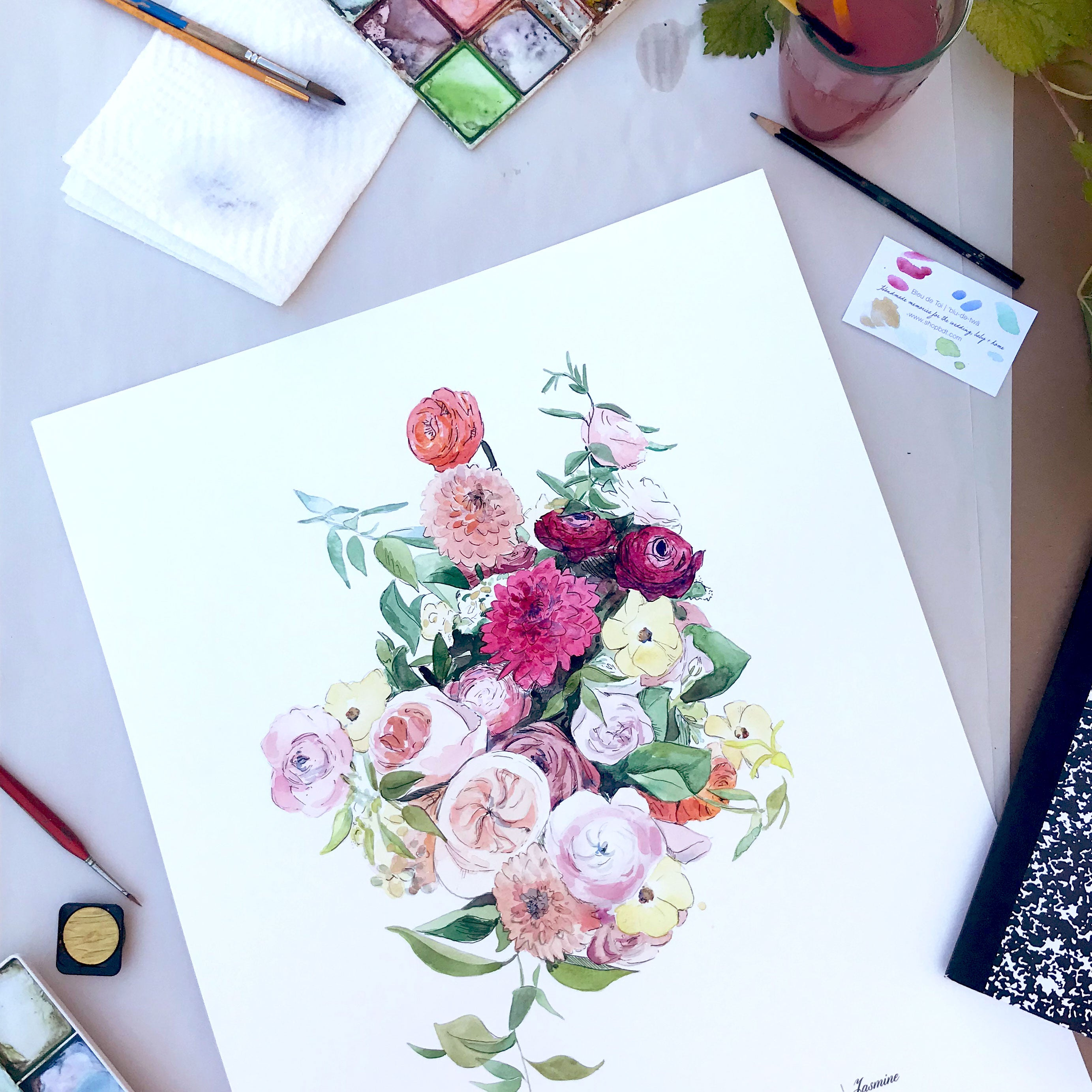 Custom Watercolor Bridal Bouquet Painting, Wedding Flowers