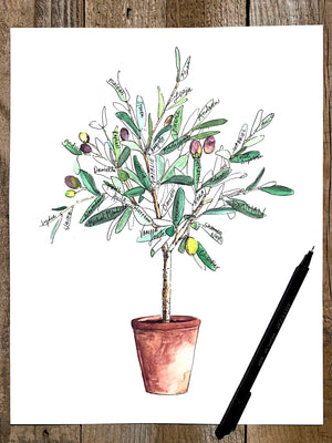 Tuscan Olive tree, watercolor guest book alternative, Signature Tree, Family Tree
