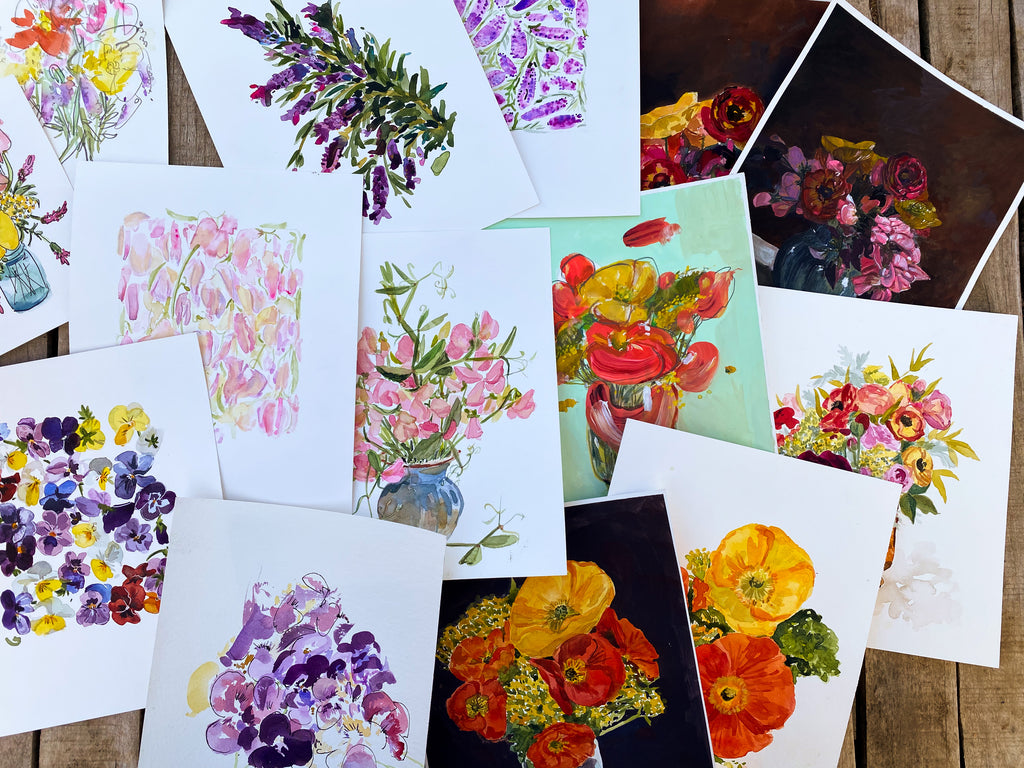 From the Garden, Spring Watercolor & Guache Floral Prints