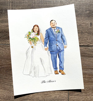 Custom Watercolor Couple Anniversary Portraits