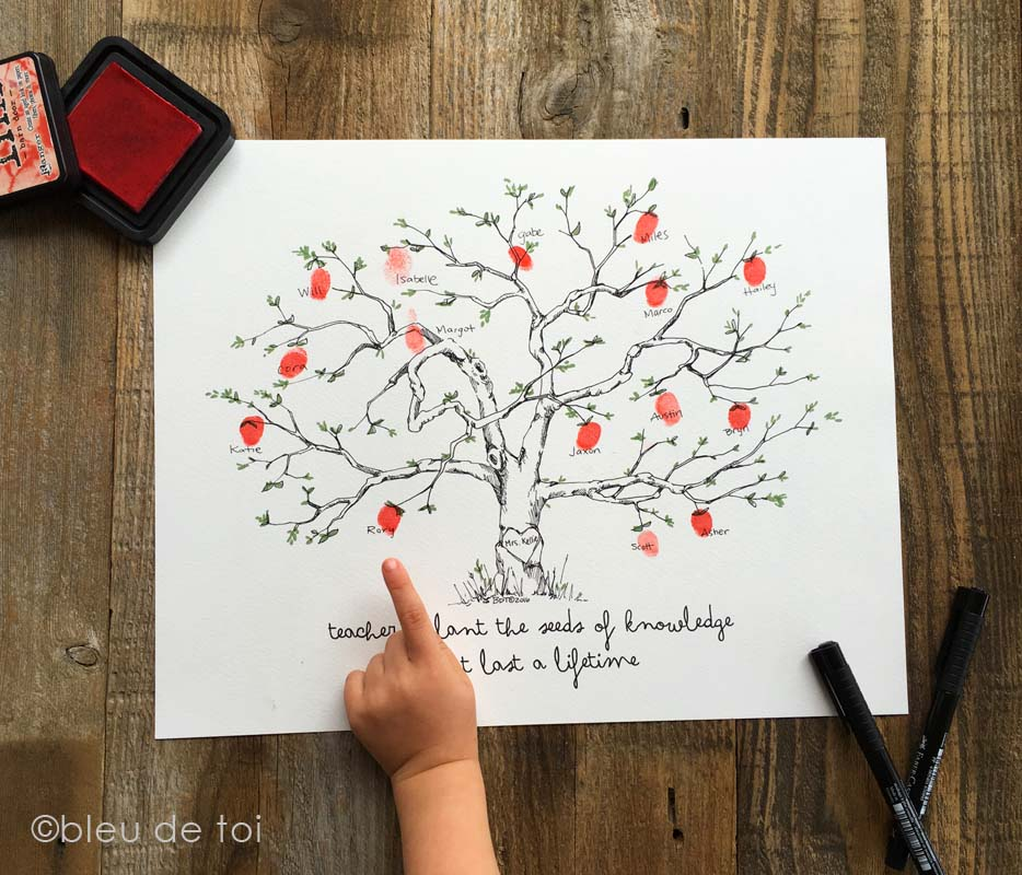Teacher Appreciation Fingerprint Apple Tree