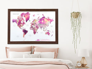 World Map, Watercolor Print, Berry Colored