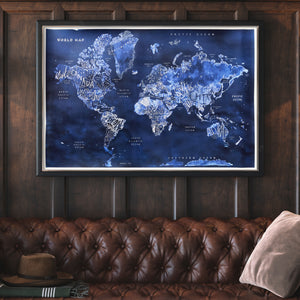 World Map, Cyanotype Print, in Deep Blues