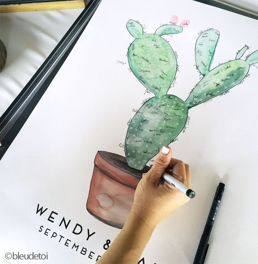 Signature Cactus, Alternative Wedding Guest Book, Kit with 1 ink pads and a pen, Customized Artwork