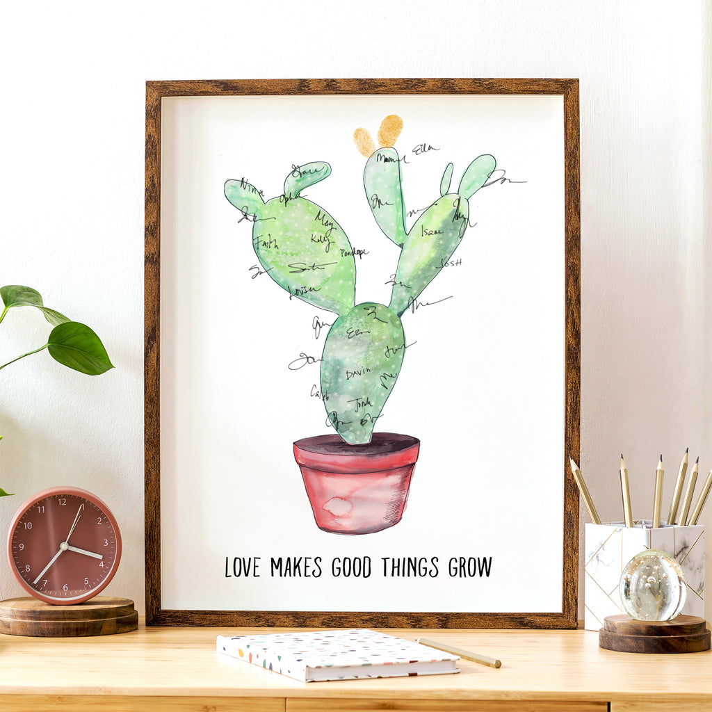 Signature Cactus, Alternative Guest Book, Kit with 1 ink pads and a pen, Readymade Print