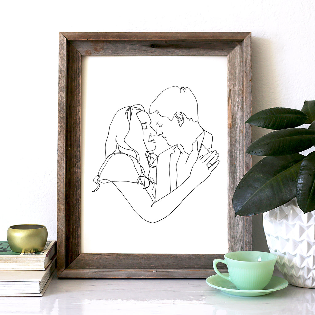 Couple Package, Continuous Modern Line Engagement Portrait