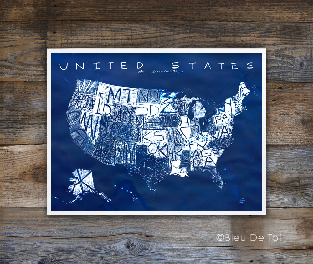 Map of The United States Cyanotype Blue, Illustrated US Map