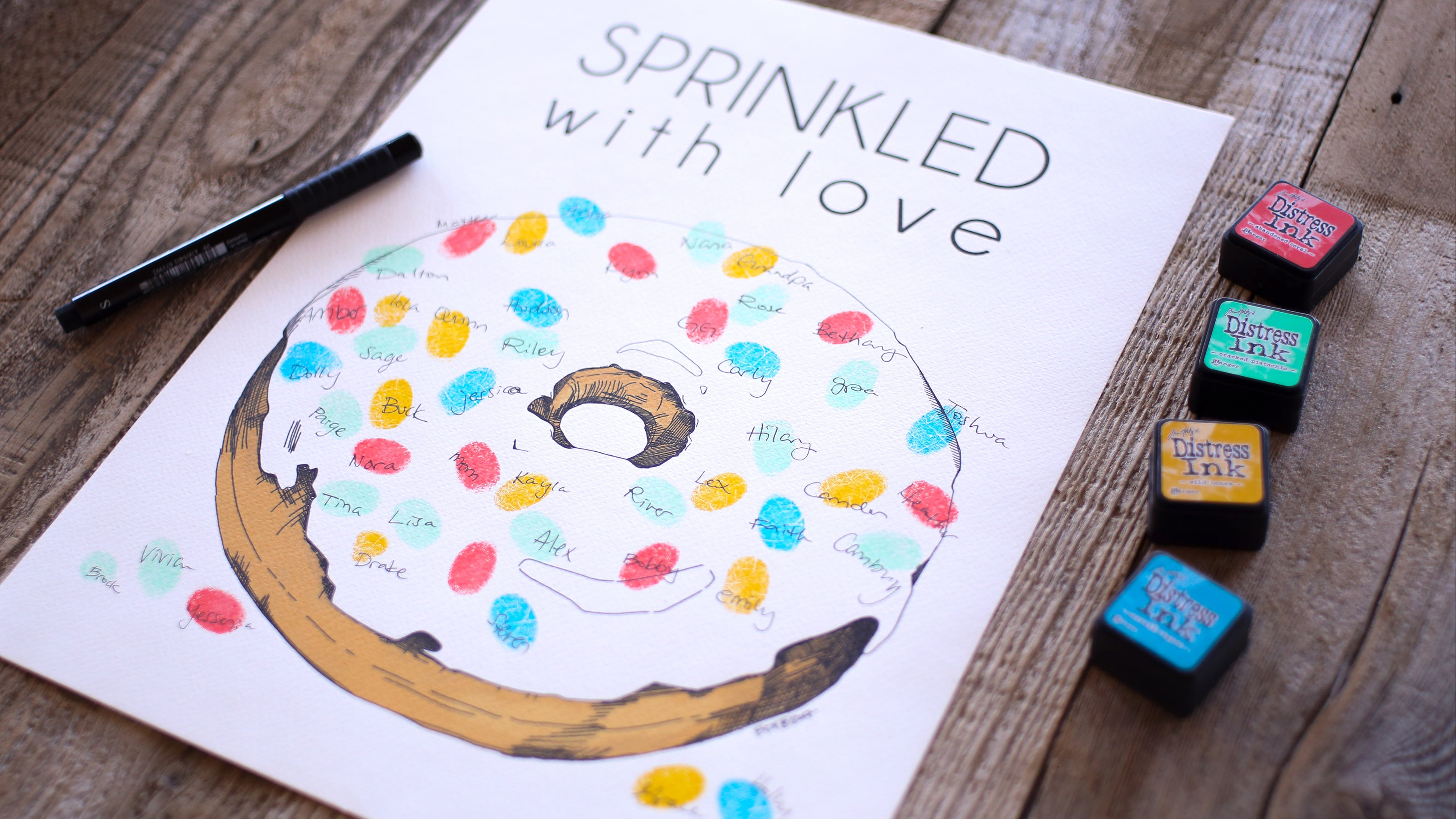 Donut with fingerprint sprinkles, Alternative Guest Book, Kit with 4 ink pads and a pen