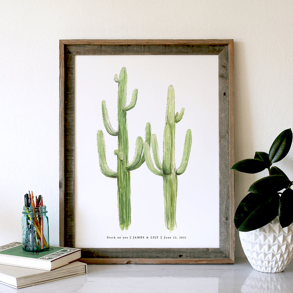 Double Tall Cacti, NEW Saguaro Cactus, Guest Book Signature Tree, includes pen